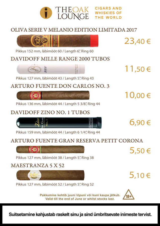 May promos are here! Cigars: La Estancia Edicion Exclusiva #60 28€ Davidoff Escurio Gran Toro Cello 17€ A.Fuente Gran Reserva Rothschilds 6,70€ Principle Frothy Monkey 5,90€ Oliva Serie G Maduro 3.75X48 Special G 3.90€ Oliva Serie G 3.75X48 Special G 3.90€ Spirits: Hellyers Road Peated 65€ English Whisky Co. Chapter 14 53€ Canetelli Spumante Brut 6€